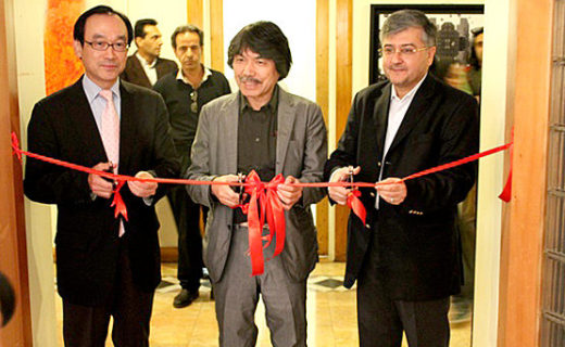 Ribbon-cutting Opening Ceremony for exhibition (Iranian Artist Forum) with His Excellency  Ambassador Haneda and Managing Director of Iranian Artists Forum