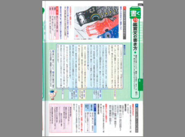 最新国語資料集に作品が掲載。中学生1年~3年用の教材 こいのぼりの作品